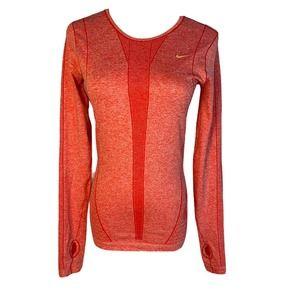 Nike Dri Fit Womens XS Red LS Running Shirt